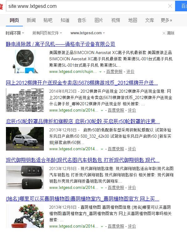 网站被黑百度搜索截图