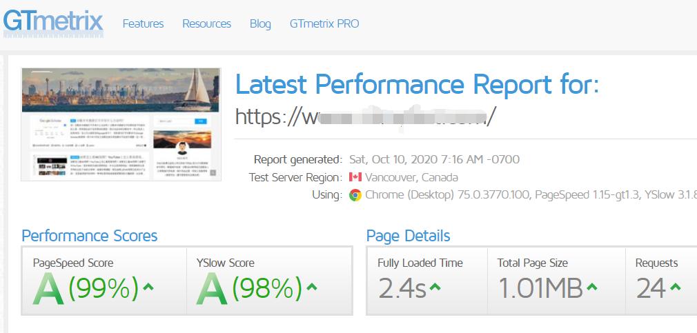 GTmetrix评分结果